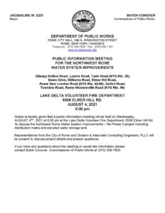 Public Information Meeting: Northwest Rome Water System Improvements @ Lake Delta Volunteer Fire Department   Rome   New York   United States